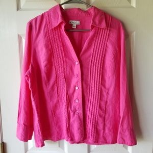 Kim Rogers 100% Linen Blouse Shirt Top Casual
